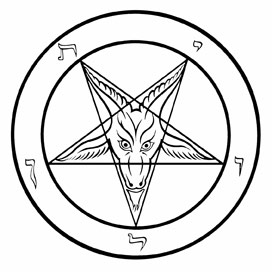 high five symbols on a baphomet